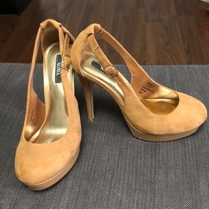 Suede Tan Stiletto Pumps
